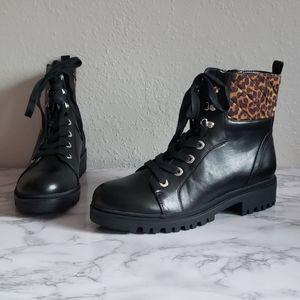 NWOT Nine West Leopard print combat boots